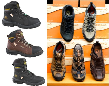 Pictured left: A sample of CAT work boots, waterproof boots, CSA-approved, steel toes - you name it, we've got it at Jensen's. Pictured right: Men's Casual Shoes from Merrell - Again, if you're looking for ventilated shoes, waterproof, multi-sport, or sandals, we've got them here in Uptowne Olds.
