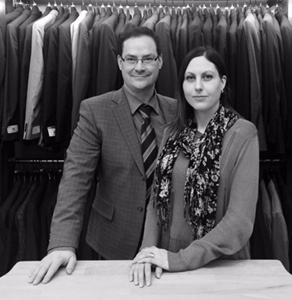 The staff at Jensen's Men's Wear led by Lindsay and Mike Caskey. Everyone is here to help you find the perfect outfit.